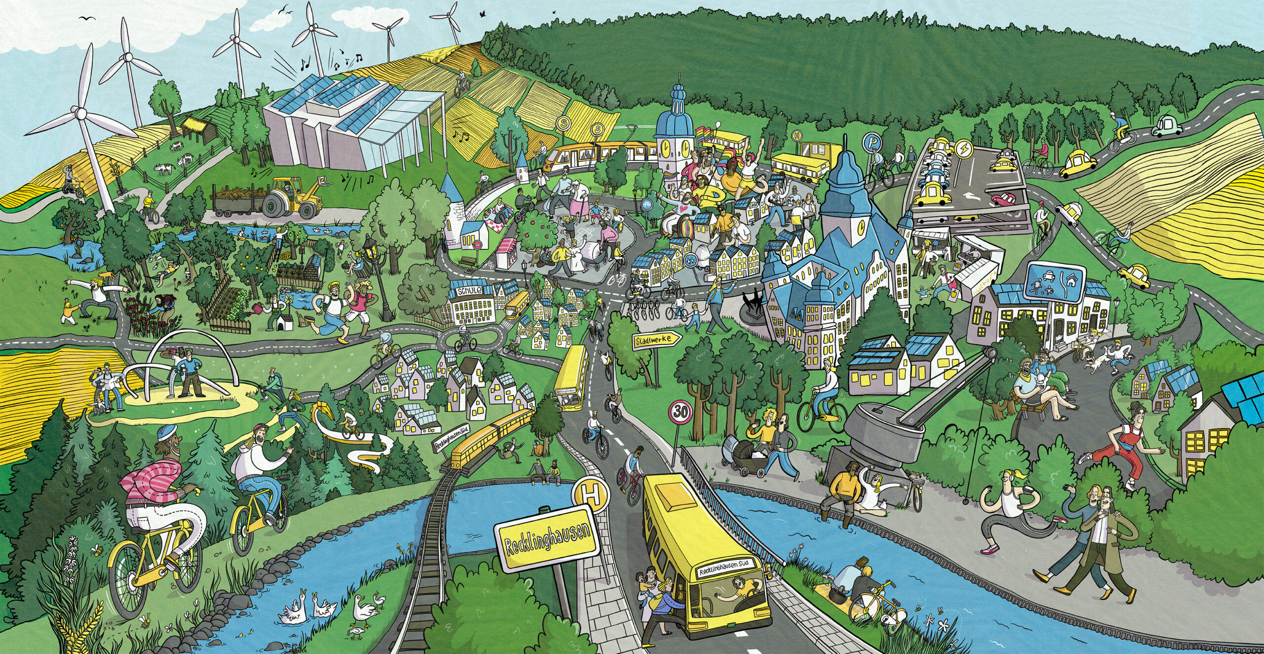 Wimmelbild Kommunalwahl 2020 Recklinghausen. Illustriert mit 💚 von Clara Sophie Klein aus Münster.